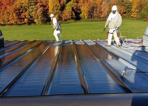 Roof in Burlington painted by Pro-Spec commercial painters